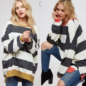 KYLIE Striped Long Sleeve Top - MUSTARD
